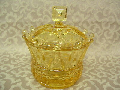 FOSTORIA WINDSOR CROWN TOPAZ YELLOW Candy Jar Canister Glass with Lid MINT