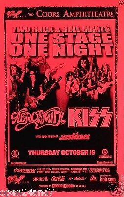 Aerosmith / Kiss 2003 San Diego Concert Tour Poster:2 Classic Rock Bands-1 Stage
