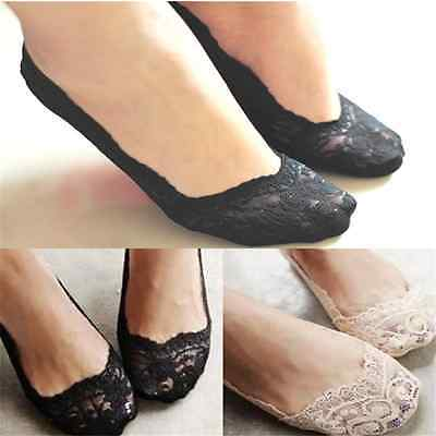 Womens Antiskid Invisible Liner No Show Peds Low Cut Cotton Rose Lace Socks Gift