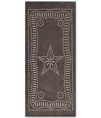 Primitive new blacken handcrafted punched tin star cabinet panel / nice