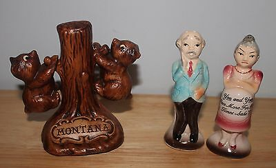 Montana Salt And Pepper Shakers Of Two Bear Cubs & Pregnant Couple For Old Times