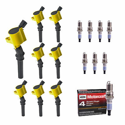 New 8 Yellow Aftermarket Ignition Coil & 8 Motorcraft Spark Plugs C1139-SP493