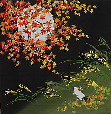 Furoshiki Japanese Fabric Cloth 'Rabbit Under the Moon and Maples' Cotton 75cm