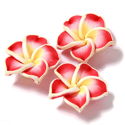 30pcs Red&Yellow Flower Shape FIMO Polymer Clay Spacer Beads Charms Accessory C