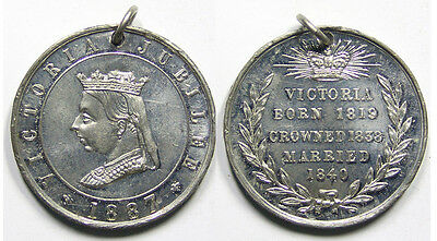 Queen Victoria 1887 Jubilee medal, 38mm, white metal, high grade with lustre.