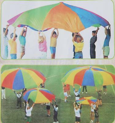 10Ft 8 Handles Kids Play Rainbow Parachute Outdoor Game Toy Exercise Sport