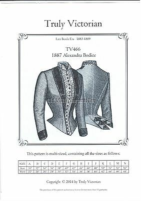 bodice jacket blouse sewing pattern Truly Victorian TV466 late 1880's Alexandra