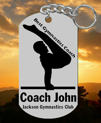 Gymnastics Coach Keychain Gift, Personalized with their NAME & Team! Man