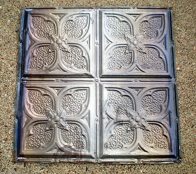 Antique Victorian Ceiling Tin Tile Gothic Quatrefoil Flowers Shabby Chic