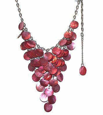 Jewels by Park Lane Jewelry Mother of Pearl Shell Disc Hot Pink Mermaid Necklace