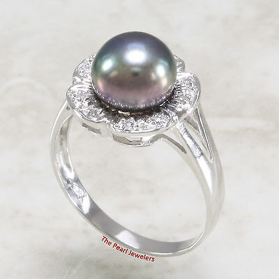 14k Solid White Gold, AAA Peacock Cultured Pearl &10 Diamonds Cocktail Ring TPJ
