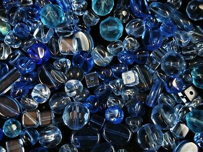 Glass Bead Mix 50g Blue Asst Shapes/Sizes Jewellery Mixed Beaded FREE POSTAGE