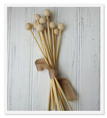 "50 - 6"" Wood Sticks with Ball, Rock Candy Sticks, lollipops"