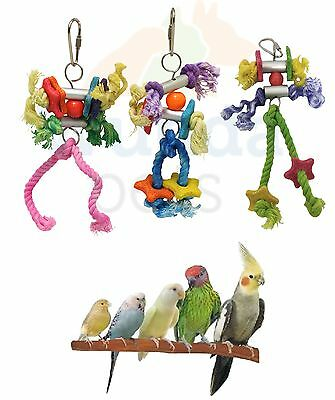 3 Pack Beaks  Metal Rope Small Parrot Budgie Cockatiel Cage Bird Toys Fe005 New