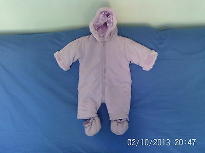 Baby Girls 3-6 Months - Mauve Lilac  Hooded Pramsuit with Bootees - Mothercare