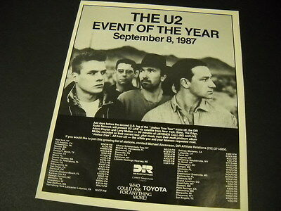 U2 Event Of The Year SEPTEMBER 8, 1987 Promo Poster Ad mint condition