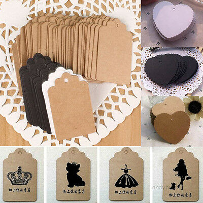 Lot 100pcs Blank Kraft Paper Hang Tags Wedding Party Favor Label Price Gift Card