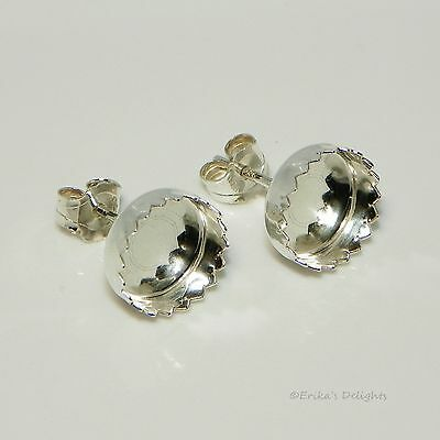 (3mm - 10mm) Round Fancy Cab (Cabochon) Sterling Silver Earring Settings