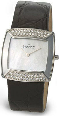 Skagen 670SSLB4 Square S/S Swarovski Crystals Mother of Pearl Dial Ladies Watch