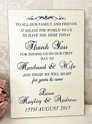 Personalised  Wedding THANK YOU Sign Personalised Handmade Shabby Vintage Chic