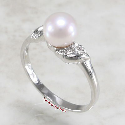 14k  White Gold, White AAA Genuine Cultured Pearl & Diamonds Cocktail Ring TPJ