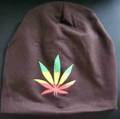 Adult Teen Weed Marijuana Leaf Rasta Stoner Oversize Beanie 4 Colours Available