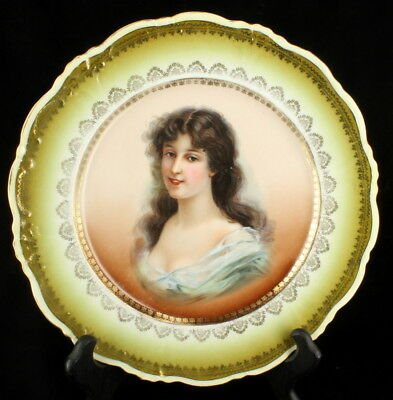 Antique Portrait Plate  Austrian Elbogen Vienna Porcelain Cabinet Wall Lady  9.5