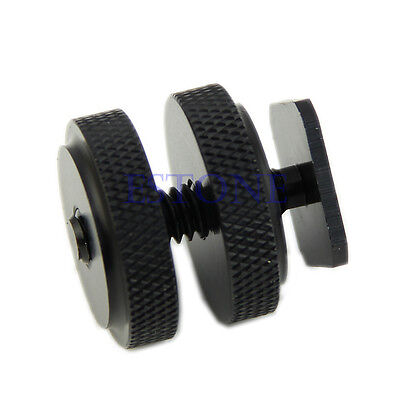 New Pro 1/4 Inch Dual Nuts Tripod Mount Screw to Flash Camera Hot Shoe Adapter
