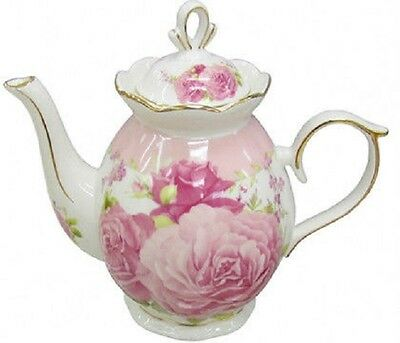 Gorgeous Shabby Chic Cabbage Rose Ceramic Teapot Kitchen Tea  Beautiful Gift