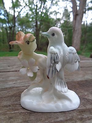 small vintage porcelain WOODPECKERS Figurine Figure Greenish JAPAN mark