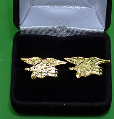NAVY SEAL Cuff Links in Presentation Gift Box -USN Special Warfare Trident
