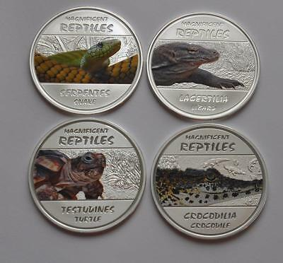 Lizard, Turtle, Snake, Crocodile - Magnificent Reptiles 2013 Congo Ag 4 Pc Set