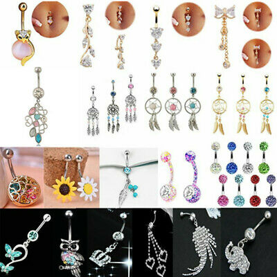 Rhinestone Dangle Body Piercing Jewelry Ball Barbell Bar Belly Button Navel Ring
