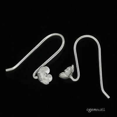 Sterling Silver Flower S French Hook Earring Connector Ear Wire #99326
