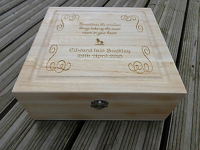 Personalised Engraved Wooden Keepsake Memory Box - Christening / New Baby Gift