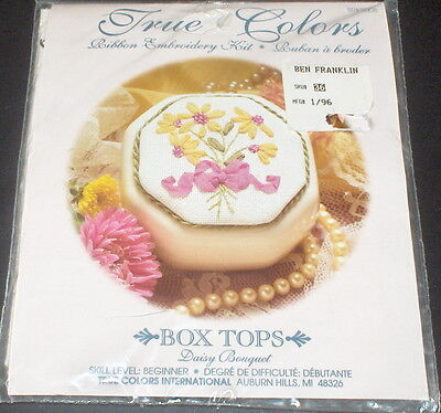 "True Colors ""Daisy Bouquet"" Floral Box Top Ribbon Embroidery Kit NIP"