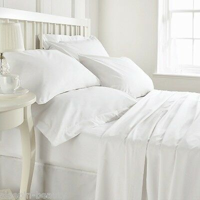 WHITE T200 OR T400 THREAD COUNT PLAIN DYED 100/% EGYPTIAN COTTON BEDDING LINEN