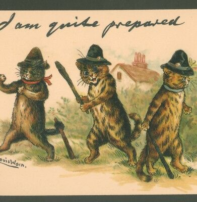 """Mint..!  Louis Wain Police Cats """"quite Prepared"""" Tuck """"write Away"""" Postcard"""