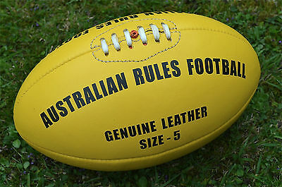 Quality Real Yellow Leather Vintage Style Australian Rules Football Footy Ball