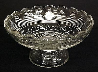 Rare EAPG Low Footed Flint Compote, Hamilton with Leaf, Cape Cod Glass c1860