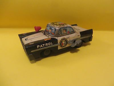 1960's Plymouth Highway Patrol Police Car Friction Metal Toy