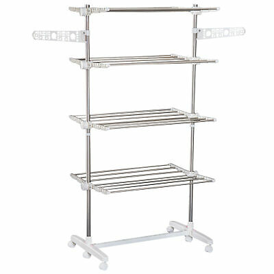 HOMCOM 4 Layers Folding Clothes Hanger Stand Dryer Rack Holding Storage Towel