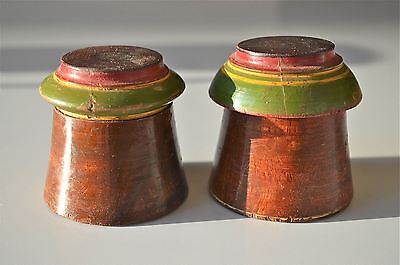 A Pair Of Beautiful Antique Round Wooden Spice Box Apothecary Canister Pot Sp35