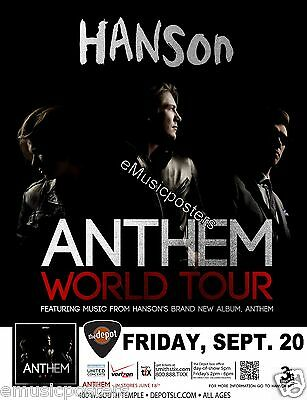 "Hanson ""anthem World Tour"" 2013 Salt Lake City Concert Poster"