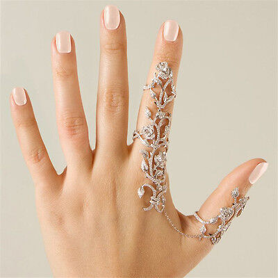 Women Multiple Finger Stack Knuckle Band Crystal Ring Set Fashion Jewelry Gift J