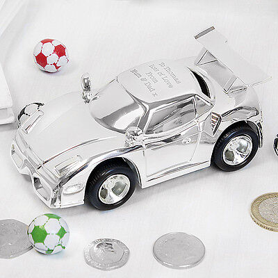 Personalised Engraved Silver Racing Car Moneybox Christening Gift Idea P0102T04