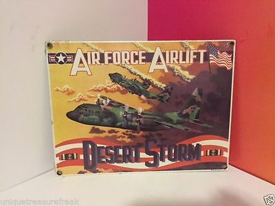 Ande Rooney Military Porcelain Adverstising Sign Desert Storm Air Force Airlift