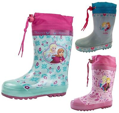 Disney Frozen Rubber Snow Boots Tie Top Wellingtons Elsa Anna Wellies Girls Size