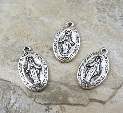 Three (3) Pewter Miraculous Medal Charms- 1188
