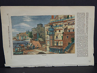 Old Prints 19th Century Hand Color Ram Ghat #17